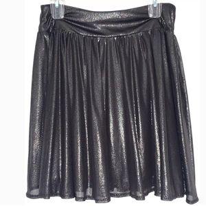 NEW Express Metallic Gray Black Pleated Skirt S